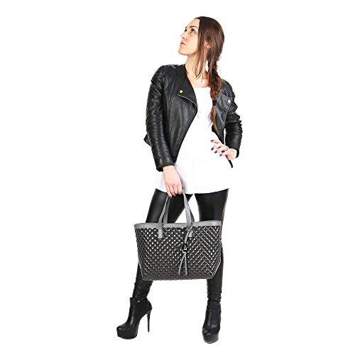 Trussardi Jeans Borsa a Mano da Donna Sintetica con rifiniture in pelle - Linea Shopping 66B400K124 Antracite
