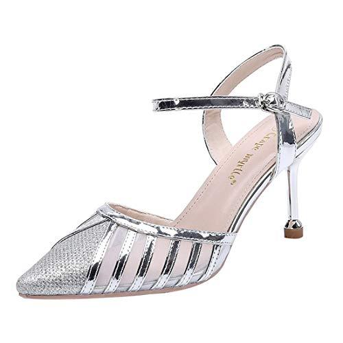 YFYF Damen High Heels Spitzen High Heels mit feinem Absatz One Word Buckle Mesh High Heels für Hochzeitsfeiern Abendschuhe Büro Pumps,Silver-38 -