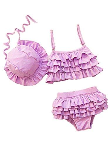 Baby Mädchen Bademode zwei Stück Badeanzüge kleine Mädchen Bikini mit Rüschen (lila) (Badeanzug Mädchen 2 Stück Mit Rüschen)