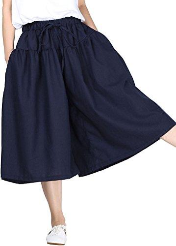 MatchLife Damen Weite Hose Baumwolle und Leinen Culotte Blau (Damen Shorts Culotte)