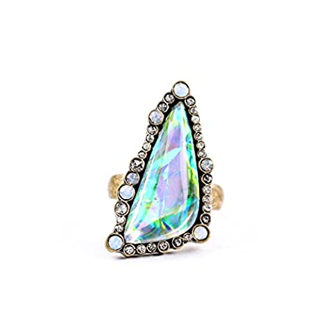LARESDOMI Vintage Gold-tone Crystal Incrusted Simulated White Opal Elegant Victorian Anniversary