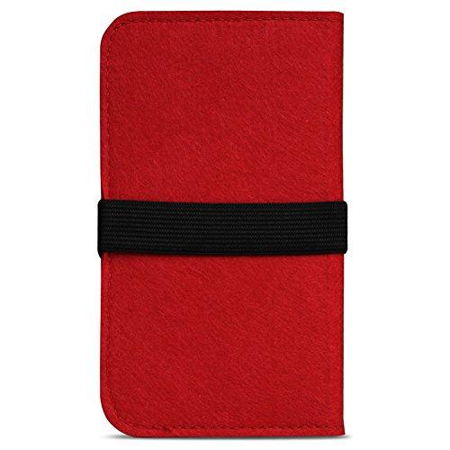 Filz Hülle für Smartphones Cover Tasche Case Flip Filztasche mit Kartenfach in verschiedenen Farben mit straffen Gummiband passend für Apple iPhone SE 5 5S 5C von UC-express®, Farben:Pink Rot