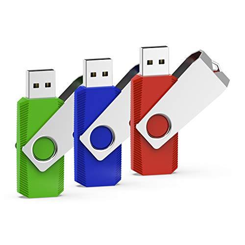 RAOYI 3er-Pack 32 GB USB-Flash-Laufwerk USB 2.0 Swivel Thumb Drive Jump Drive Memory Stick-Stick - Rot/Grün/Blau (Swivel - Usb-flash)