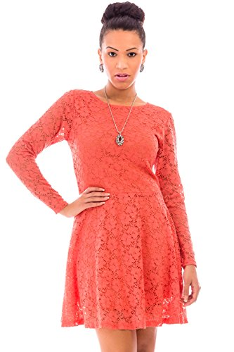 Women's Vintage Fit-And-Flare Long-Sleeve Lace – 1950S A-Line Hourglass Cocktail Party Dress In Size 14 Coral – 100% Satisfaction Guarantee – Order Risk Free!
