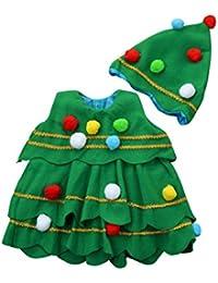 Ropa de niñas, MEIbax Niños pequeños bebé niñas de Navidad árbol de disfraces Vestido de fiesta Tops chaleco + sombrero 2pcs trajes