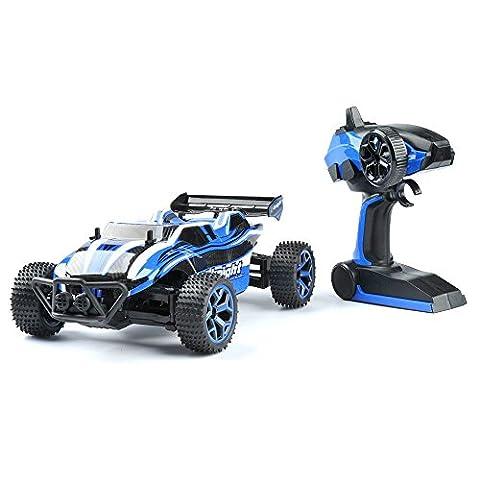 GizmoVine Voiture télécommandée 4 roues motrices haute vitesse échelle 1:18, télécommande 2.4 Ghz, voiture de course électrique avec batterie rechargeable - Bleu