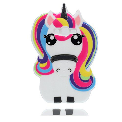 Samsung Galaxy Grand Prime G530 étui,Samsung Galaxy Grand Prime G530 Coque,3D Fantasy Unicorn Pony Horse Soft Silicone[Shock Proof] case cover pour Samsung Galaxy Grand Prime G530-arc en ciel