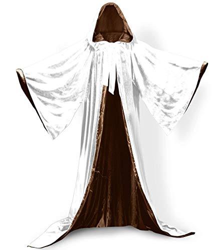 elalterliche Zauberer Robe Hauben Halloween Mantel mit Langen Armeln SAMT Maskerade Fuer Weihnachtsfeier Kostum Ball Gothic Voller Lange Kap Cosplay Fancy Coat Viele Farben ()