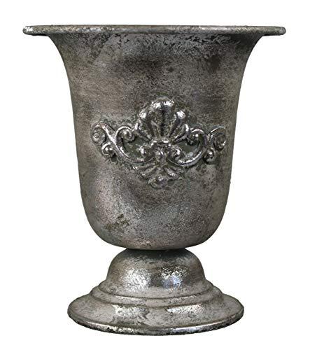 GMMH Pokal Amphore Dekovase Vase Blumenvase Antik Metall Vintage Deko Retro Design (LN2-1 17,5 cm Hoch Silber)