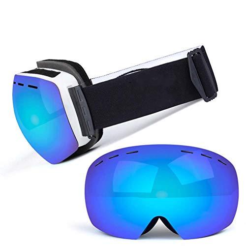 JXS-Goggles Skibrille, Doppelschichtlinse, Anti-Fog, Anti-UV, Schneesicher, Objektiv austauschbar, kann mit Myopie-Brillen verwendet Werden,I