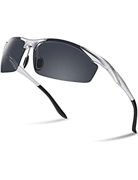 Paerde - Gafas de sol polarizadas para deporte, de montura irrompible, Silver&Black Lens
