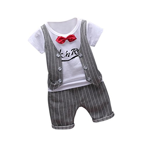 PINEsong 2PC Outfits Kleidung Kleinkind Kinder Baby Junge T-Shirt Tops+Hose (Grau, 0-1Y)