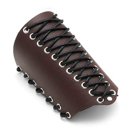 MILAKOO Unisex Lederhandschuh für Männer Frauen Armband Breite Armschiene Arm Rüstung Manschette Braun -