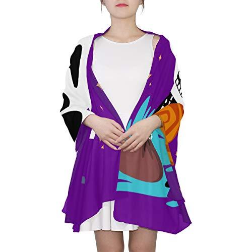 SHAOKAO Netter Kawaii Skeleton Halloween einzigartiger Art- und Weiseschal für Frauen Leichte Art- und Weiseherbst-Winter-Druck-Schal-Verpackungs-Geschenke für frühen Frühling
