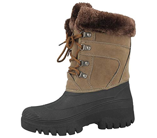 Groundwork Ladies Faux Suede Fur Trim Lined Waterproof Warm Wellington Wellies Walking Rain Mid Calf Snow Boots Size 4-8