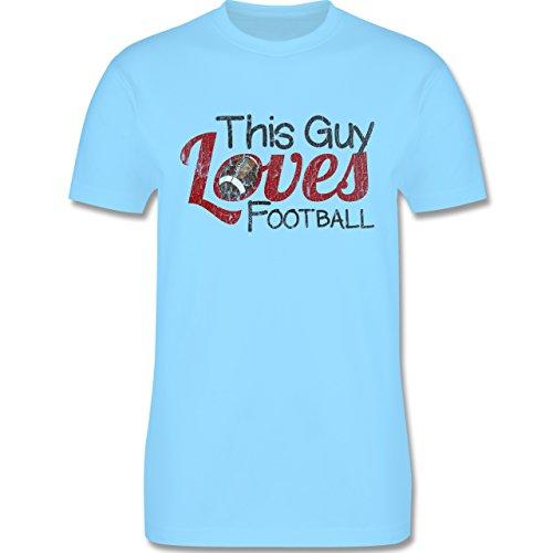 Football - This Guy loves Football - Vintage look - L190 Herren Premium Rundhals T-Shirt Hellblau
