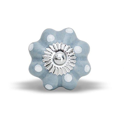 Unbekannt Pomo para Muebles Lilly Gris con Lunares Blancos