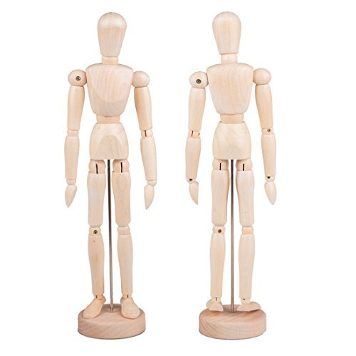 Tebery 12 Inches Tall Wooden Mannequin Artist Manikin with Stand - Great for Drawing or Desktop Decor - Pack of 2
