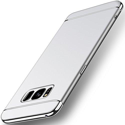 Coque Samsung Galaxy S8 (5,8 pouces), MSVII® 3-in-1 Design PC Coque Etui Housse Case et Protecteur écran Pour Samsung Galaxy S8 (5,8 pouces) - Noir JY50099 Argent
