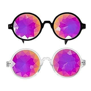 AFUT Kaleidoscope Glasses, Rainbow Crystal Lenses - Multicolor Fractal Prism - Rave, Festival, EDM(2 pcs)