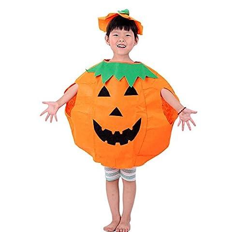 Weant non tissé pour enfants Vêtements Halloween mignon citrouille Costume Short + chapeau (3t-10t)