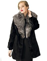 VLUNT Femme Chaud Epaise Fourrure Longue Fleece Parkas Manteau Veste Blouson Longue