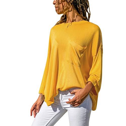 Pullover Sweatshirt für Damen,Kobay 2019 Halloween Heiligabend Weihnachten Frauen Tasche Stitching Round Kragen Shirt Casual Langarm Solide Bluse Tops T Shirt Sweater Sleeve Scoop Neck Bow