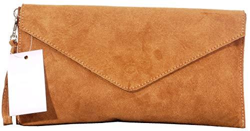 Primo Sacchi Italienische Wildleder Leder handgemachte Tan Umschlag Design Kupplung, Handgelenk, Schulter oder Crossbody-Bag.Umfasst eine Marke schützenden Aufbewahrungstasche - Tan Leder-clutch