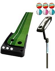 WENZHE Alfombra De Práctica Golf Putting Estera Alfombras De Golf Establecer Puede Volver Automáticamente A La Pelota Pendiente Plástico Tipo De Casa 3 * 0.3 M / 2.5 * 0.3 M ( Color : Without track , Tamaño : 2.5*0.3m#1 )