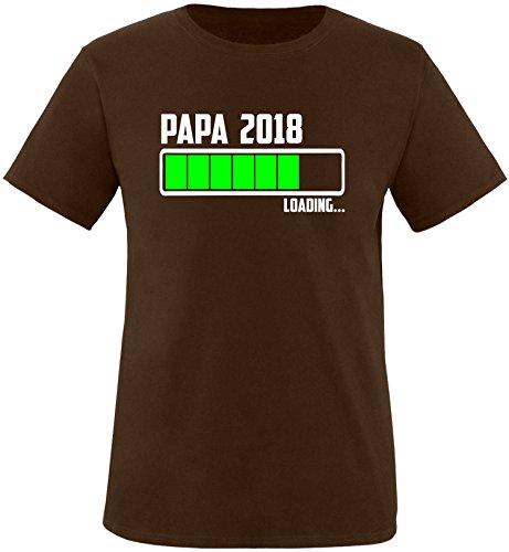 EZYshirt® Papa 2018 Herren Rundhals T-Shirt Braun/Weiss/Neongr