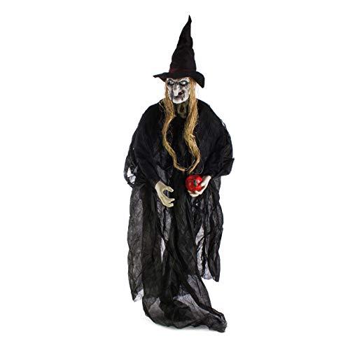 showking Halloween Geist/Gespenst Hexe CALLISTRA mit Apfel, Hut, LED, 170 cm - Hexenfigur/Dekofigur