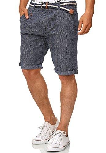 Indicode Herren Cuba Chino-Shorts Kurze Hose mit Gürtel aus 100% Baumwolle Indigo Blue XXL (Kurze Polo Männer Hosen Für)
