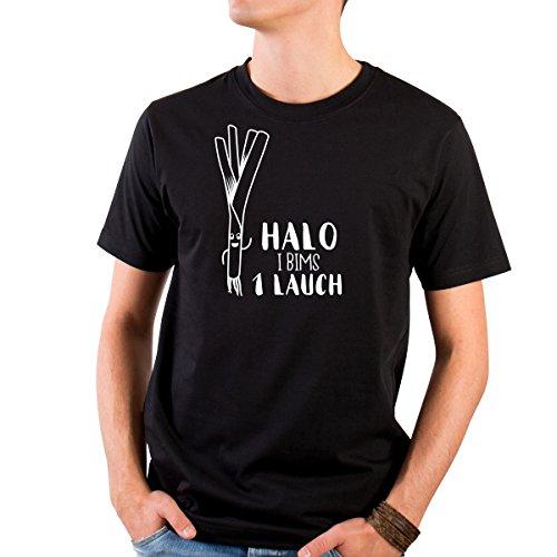 """JUNIWORDS Herren T-Shirt mit rundem Ausschnitt - """"Halo I bims 1 Lauch"""" Wähle Größe & Farbe Größe: XL - Farbe: Schwarz"""