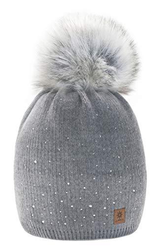 Wurm Winter Strickmütze Mütze Damen Kristalle Kiesel mit Große Pelz Bommel Pompon l SKI (Gray) ( MFAZ Morefaz Ltd)
