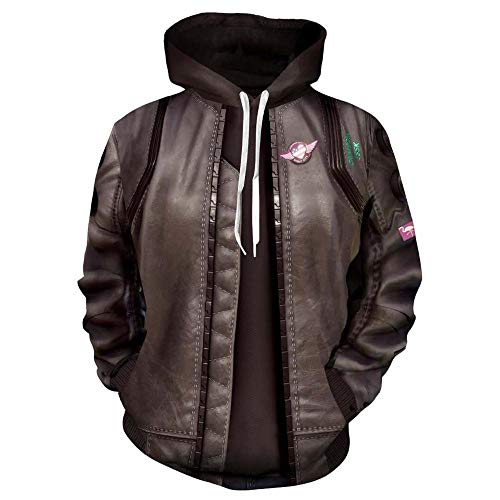 YX Hoodie Sudadera con Capucha Cyberpunk 2077 Suéter Impresión 3D Cremallera Cardigan Abrigo Deportivo con Capucha Suéter Cospaly Non-Zipper-S