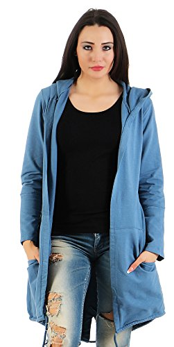 Mr. Shine® – Damen Fashion Cardigan Lose Oberteil Mantel Pullover mit Druck S-XXXL Übergrößen (M, Jeans Blau) (Weste Blau Royal Gestreifte)