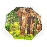 EZIOLY Regenschirm mit Ölmalerei Elefanten, für Familie, Reisen, leicht, Anti-UV-Schutz, Sonnenschirm für Herren, Frauen und Kinder, Winddicht, faltbar, kompakt