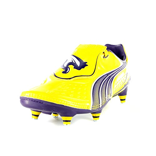 Puma V1.11 SG Mens Football Boots / Cleats - Yellow VBRNT YLLW-PRCHUT PRPLE-WHTE