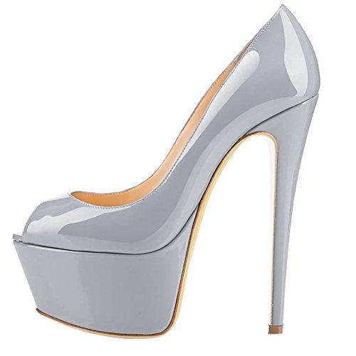 MERUMOTE Damen J-1506 Peep Toe Stilettos High Heels Plattform-Pumpen EU 35-