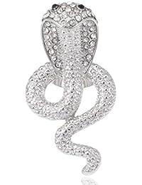 Anillo ajustable del Tono de plata brillante de veneno de serpiente Cobra de cristal Rhinestone