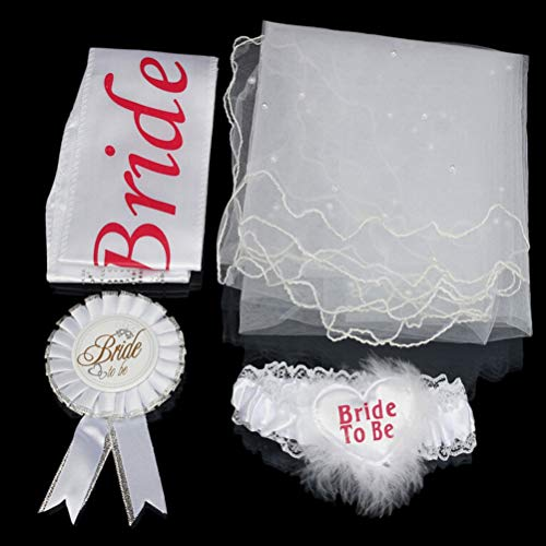 Bride Party - 1 Lace Set Rosette Mantilla Badge Sash Wholesale Fashion Garter Hen Night Party Bride To Be - Chain Advice Foil Essentials Gift Apparel Bride Decoration Rose Flip Shower Jacket D (Team-dress Up Ideen)