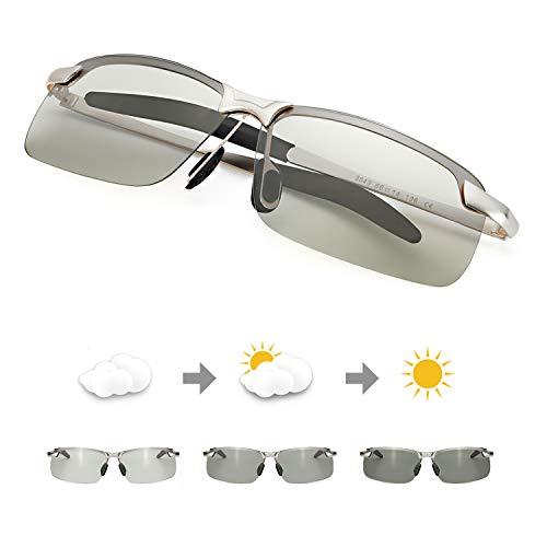 TJUTR Polarisierte Sonnenbrille Herren Photochromatisch Sports für100% UVA UVB Schutz Metallrahmen Leicht (Silber(sport)/Grau)