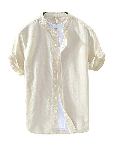 Herren Kurzarm Einfarbig Leinen Hemd Kragenloses Hemd T Shirt Freizeit Hemden Kaki XL