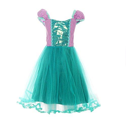 ReliBeauty Mädchen Kleid Prinzessin Ariel Meerjungfrau Kostüm, Wie gezeigt, 90(Etikett (Kleid Ariel Kostüm)