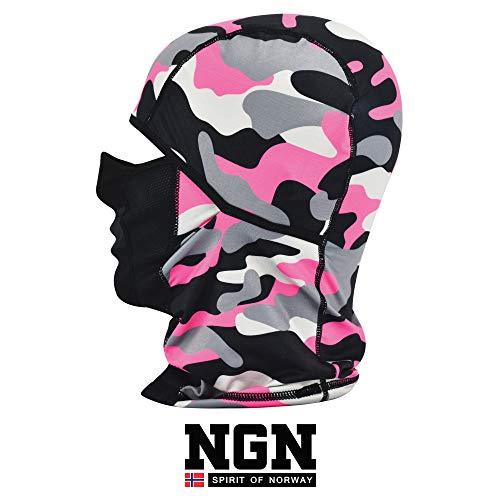 Ngn - passamontagna da donna, per sci, snowboard e moto, colore: rosa/rosa, mimetica rosa, s/m