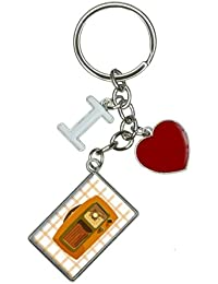 Retro Radio Vintage Technology I Heart Love Keychain Key Ring