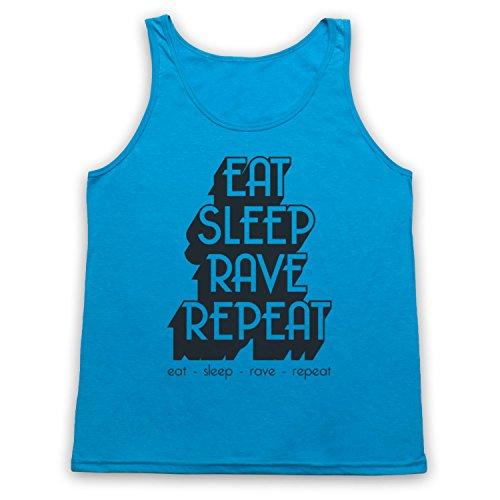 Eat Sleep Rave Repeat Dance Music Slogan Tank-Top Weste Neon Blau