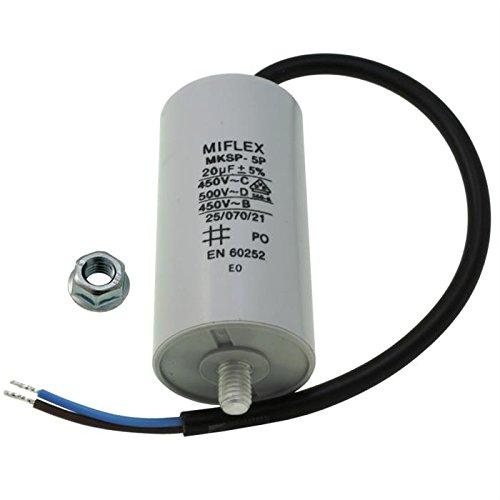 AnlaufKondensator MotorKondensator 20µF 450V 40x78mm Leitung M8 ; Miflex ; 20uF -