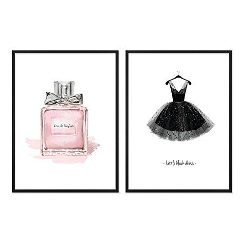 PHOTOLINI 2er Set Design-Poster No.10 mit Bilderrahmen Schwarz 30x40 cm Fashion Motive Kleid Mode Dekoration Parfüm