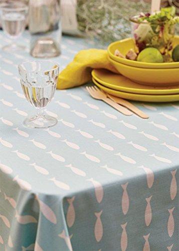 Nappe Popote fish poissons blancs sur fond bleu coton enduit 170x200 ~ Sylvie Thiriez